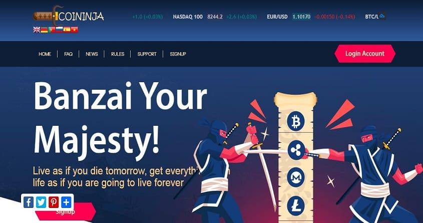 Coininja: обзор проекта с хорошим инвестиционным предложением, отзыв coininja.net, страховка 150$ Прекратил работу