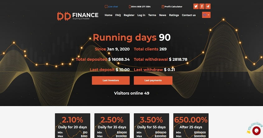 DDFinance обзор высокодоходного проекта.  Плачу повышенный рефбек 11%.  Есть страховка 150$ Прекратил работу
