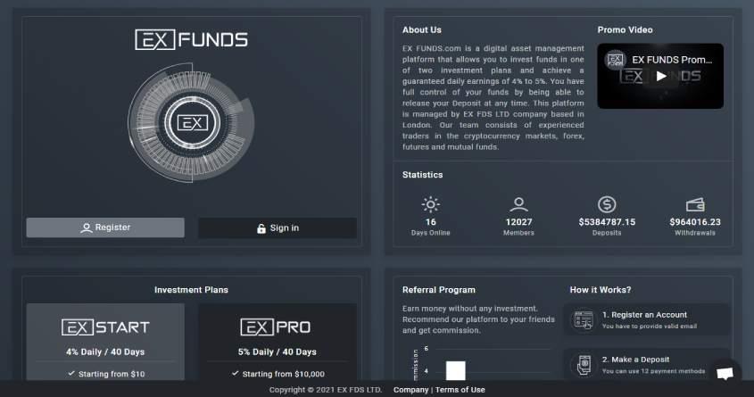 ExFunds: обзор топового хайп проекта, отзывы об exfunds.com. Плачу рефбек 5%, страховка 1000$ (Прекратил работу)