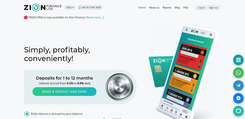 Zion Finance: обзор качественного хайп проекта, отзывы о zion-finance.com. Плачу рефбек 3%